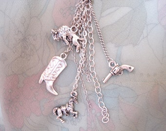Buffalo Cowgirl Rhinestone Hat and Charm Necklace