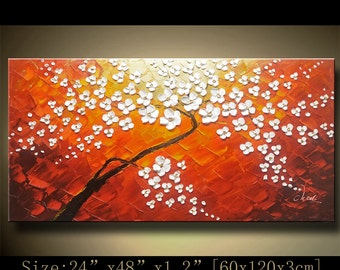 wall art Original Tree Art Textured Palette Knife Landscape Painting acrylic on Canvas Contemporary Abstract Modern Art  by CHEN  hh81
