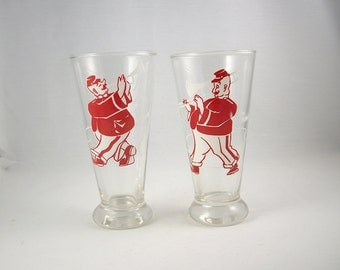 Vintage Pilsner Beer Glasses German Musicians Pair