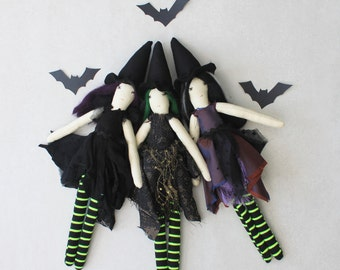 Mini Witch Ragdolls: Handmade from Vintage and Recycled Materials, Cloth Doll, Halloween, Halloween doll, Spooky doll