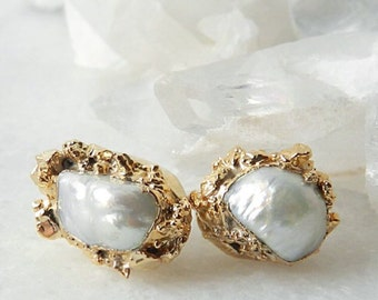 20% OFF SALE pearl earrings, gold earrings, druzy earrings, pearl stud earrings, pearl studs, druzy studs, gold nugget, gifts for her