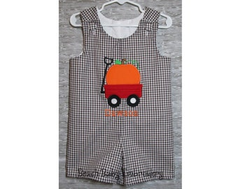 Red Wagon Pumpkin Gingham Monogrammed Jon Jon, Longall, or Baby Bubble Romper, Many Colors, Many Sizes, Made-to-Order Boys Outfit