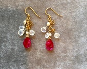 Pink moonstone dangle earrings with gold, pearls and while moonstones