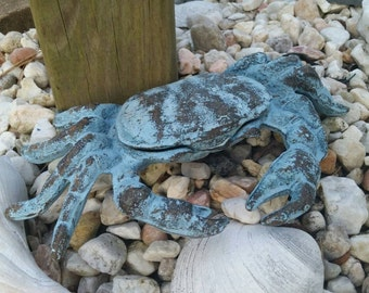 Cast Iron Crab - Garden Statue, Nautical Decor, Beach House Decor, Outdoor Decor, Garden Decor