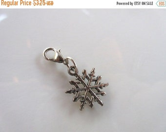 20% OFF SALE Snowflake Clip-On Charm Tibetan Silver with silver lobster clasp--zipper pull, charm bracelets, necklace charm