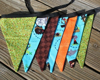 Pirate Themed Fabric Bunting, Pirate Bunting, Pirate Fabric Bunting, Pirate Party, Pirate Flag Bunting, Pirate Party