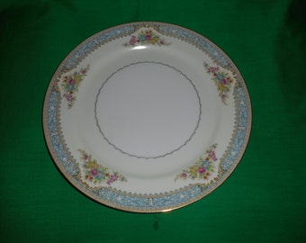 "One (1), 10"" Porcelain Dinner Plate, from M/N China, in the Danube Pattern."