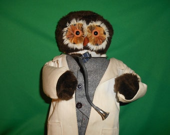 "One (1), 17"" Owl. Doctor Doll, Dressed in Lab Coat."