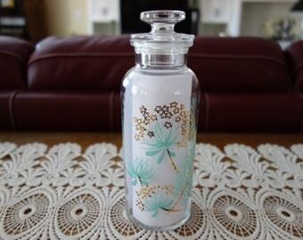 Vintage Apothecary Jar, Mid Century, Glass, Aqua, Gold Gilt, Floral, Regency, Bedroom, Vanity Jar, Women, Powder Room, Glass Jar, Bath Decor