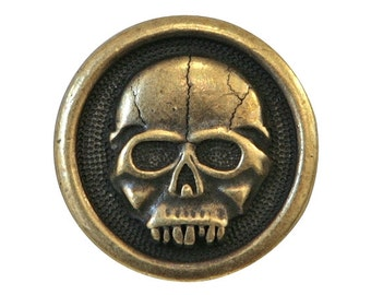 2 TierraCast Scary Skull 5/8 inch ( 16 mm ) Brass Plated Pewter Buttons