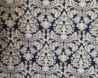 Outdoor Fabric, Outdoor Cushion Fabric, Outdoor Pillow Fabric, Navy and White Outdoor Fabric, Waverly