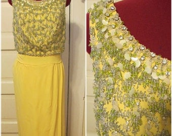 1950s Sunshine Yellow Beaded Gown by Ruth McCulloch Evanston sz m/l