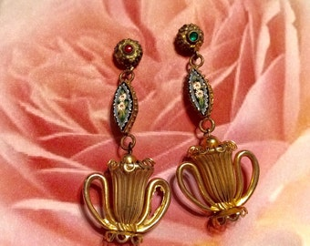 1920 Art Deco Earrings Unique Urn Floral Micro Mosaic Dangles