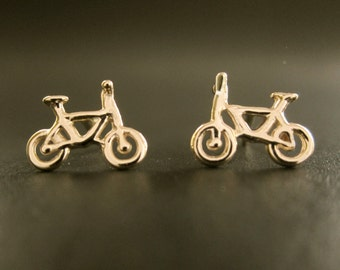 Gold Bicycle, Tiny Bike,14k stud post earrings solid gold recycled handmade in USA