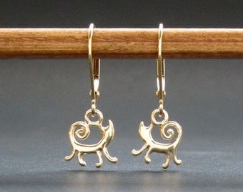 Gold Cat Earrings solid 14k kitty recycled gold leverbacks handmade in USA