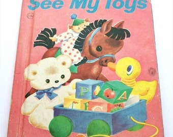 """ON SALE Vintage 1946 Children's Book """"See My Toys"""" By Lillian E. B. Garfield Rand McNally & Company Illustrated Book"""