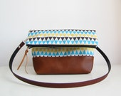 Geometry print Crossbody Bag, Fold over, Crossbody Purse, Clutch purse, Triangle print