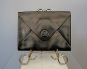Lanvin Clutch / Vtg / Minimalist Black Leather Lanvin Clutch / Envelope Style Designer clutch