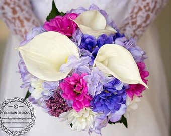 Real touch Calla Lilies, Colorful Zinnia and Purple Hydrangea Bouquet (Premium)