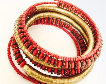 Rustic Boho Red Beaded Cuff Coil Bracelet