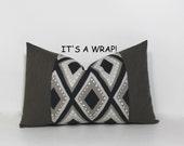 Decorative pillow wrap. Black taupe khaki white geometric print. Robert Allen design decorative home decor accent