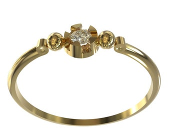 small diamond engagement ring, solid 14k gold