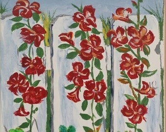 Grandma's Roses-acrylic painting on canvas