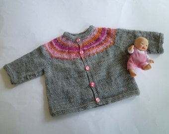 Knit baby sweater,baby girl gift,baby girl cardigan,pink baby sweater,free shipping
