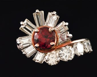 Handmade, Vintage, Estate, 1920s, Platinum, Rose Gold, Gold, Natural, Ruby, Round Brilliant Cut, Diamond, Cluster, Ring