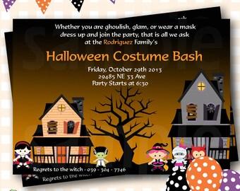 Halloween Birthday Invitations, Costume Party Halloween Invitations, Costume Party Birthday Invitations, Costume Party Invites - H07