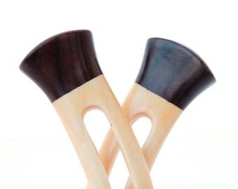 Wooden hair forks, 2 prong, Pair, Hair sticks, Wood, Maple wood, Black ash wood, Hairpin, Handmade, Hair accessory, WoodArtJewelry