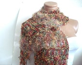 ON SALE CLEARANCE Green orange red Hand Knit Scarf Fur feather High Fashion Scarf for women nice accessory and gift