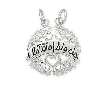 Charm Lil Sis and Big Sis Break-Away Charm Sterling Silver, Family Charms