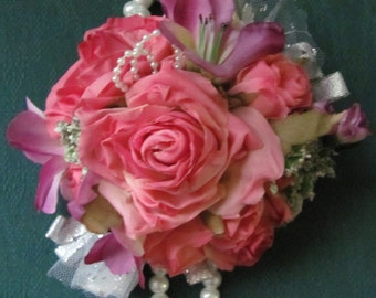 Wrist Corsage for Weddings and Proms Pretty Pink Roses and Purple Accent Flowers