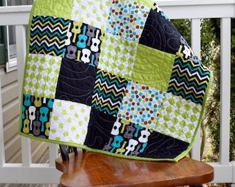 Guitar baby quilt, green baby quilt, funky baby quilt, colorful baby quilt, ready to ship baby quilt, baby boy quilt, gender neutral quilt