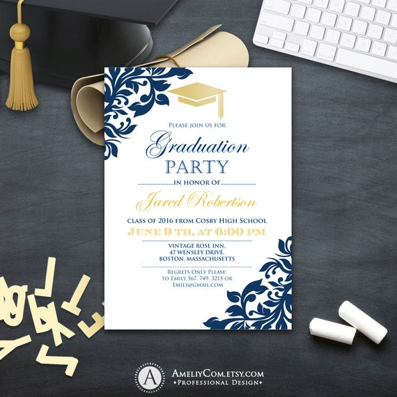 graduation party invitation ollege printable template boy. Black Bedroom Furniture Sets. Home Design Ideas
