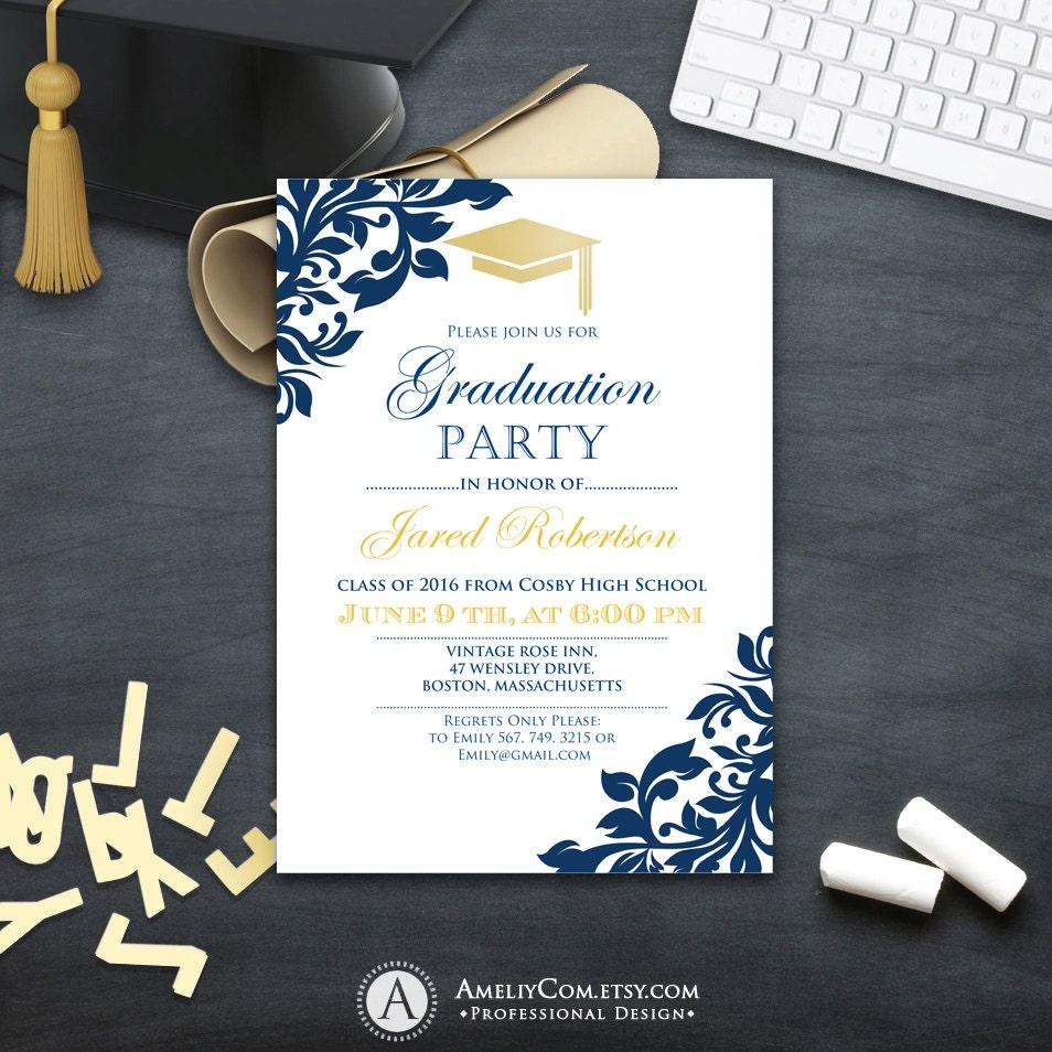 graduation party invitation ollege printable template boy. Black Bedroom Furniture Sets. Home Design Ideas