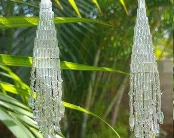 Long beaded earrings, shoulder dusters