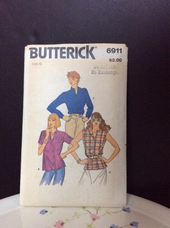Vintage Butterick Shirt Pattern 6911 Reduced Price From