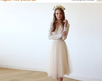 Champagne midi tulle dress with long sleeves , Bridesmaids champagne tulle midi dress