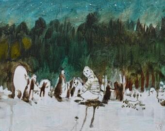 MAGIC FOREST Original Painting on Canvas Graphic Art Artwork Illustration Contemporary