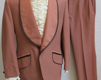 """1970's """"Palm Beach Formals"""" Salmon and Brown 3 Piece Tuxedo Suit - Jacket Size 44 / Pants 37 x 31"""