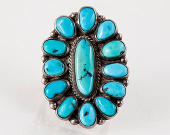 Turquoise Ring - Vintage Navajo 1960's Sterling Silver Turquoise Ring