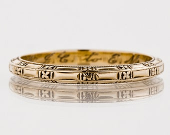 Antique Wedding Band - Antique Art Deco 14k Yellow Gold Etched Wedding Band