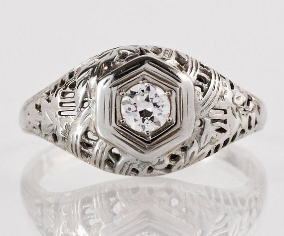 Antique Engagement Ring - Antique 18k White Gold Filigree Diamond Engagement Ring