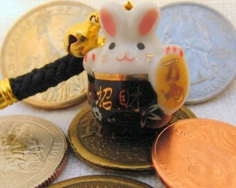 Maneki Neko Lucky Rabbit Porcelain Phone/Handbag Charm with Black Braided Strap/Lanyard and Bell.  BLACK .