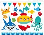 ON SALE - Under the Sea (2) Clip Art / Digital Clipart - Instant Download