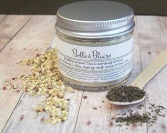 Matcha Green Tea Cleansing Grains- Natural Facial Cleasnser- Vegan- Plant Based Organic Skin Care- 2oz