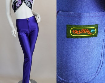 Vintage 70s Disco Pants Spandex Purple M