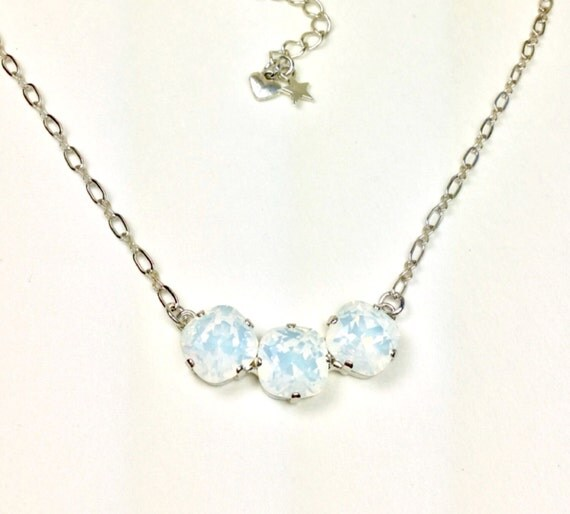 Swarovski Crystal Necklace 12MM Cushion Cut - Three Crystal Necklace   Designer Inspired - White Opals   Sparkle & Shimmer - FREE SHIPPING